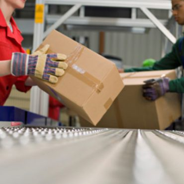 Factory Workers Lifting Boxes