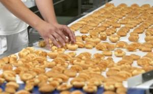 factory worker handling food